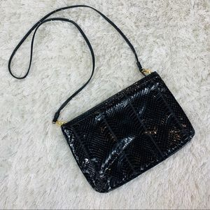 Black Genuine Snakeskin Crossbody Bag Vintage